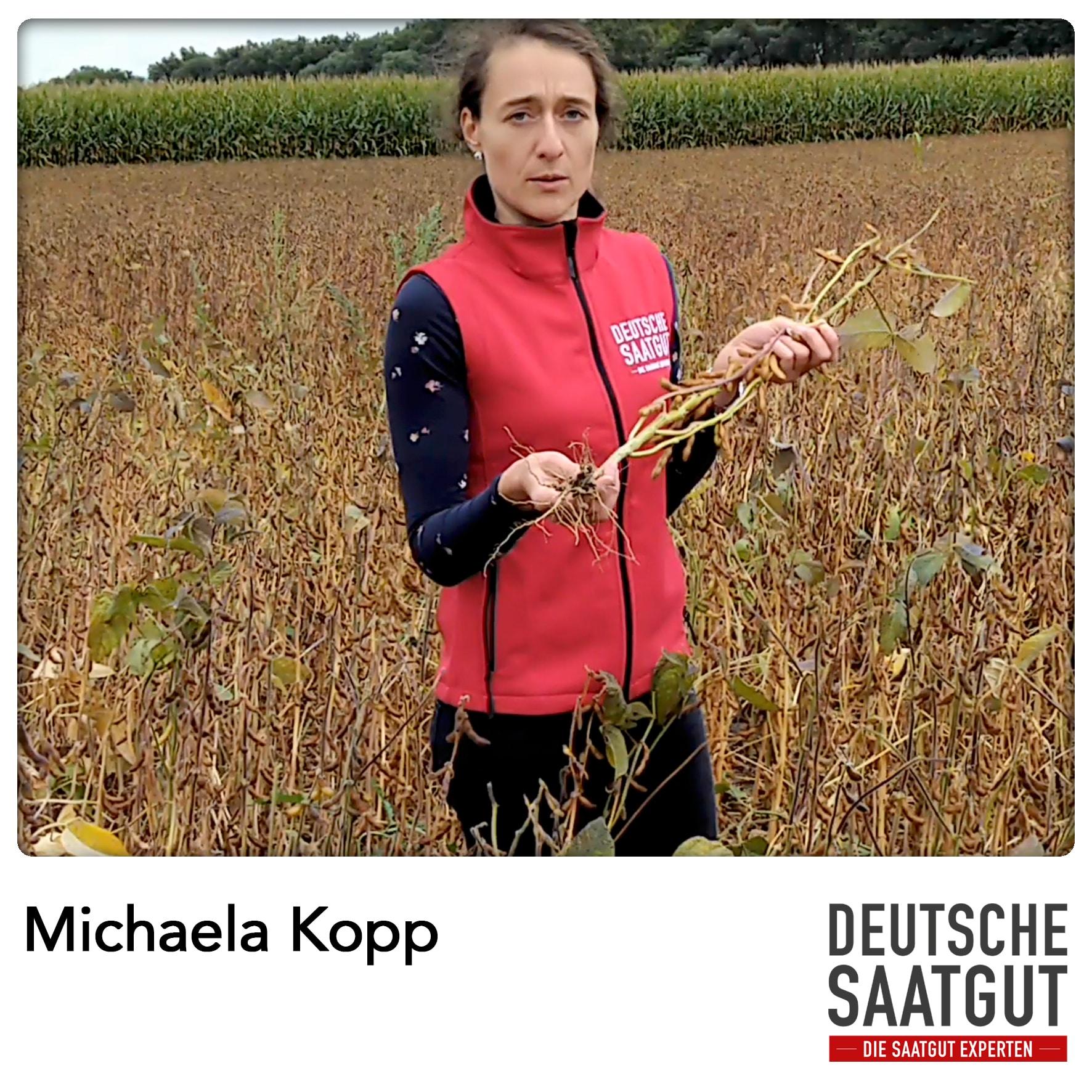 Michaela Kopp beim Soja Exaktversuch in Tapfheim, im Landkreis Donau-Ries