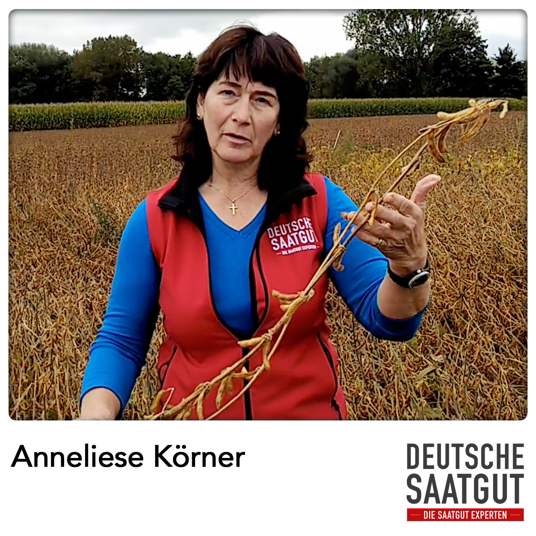 Anneliese Körner beim Soja Exaktversuch in Tapfheim, im Landkreis Donau-Ries